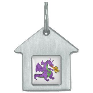 purple dragon throwing flames pet tag