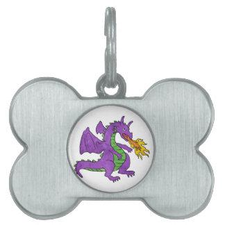 purple dragon throwing flames pet tags