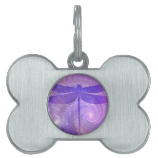 Purple Dragonfly Pet Name Tags