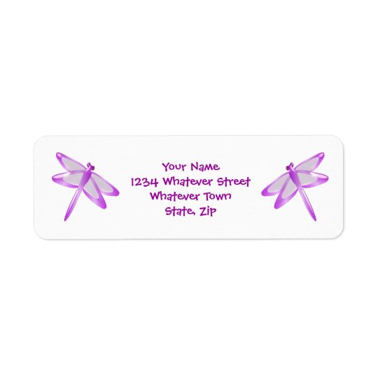 Purple Dragonfly Return Address Label
