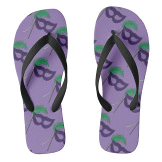 Purple Drama Club Theater Masquerade Mask Print Flip Flops