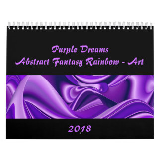 Purple Dreams , Abstract Fantasy Rainbow-Art Wall Calendar