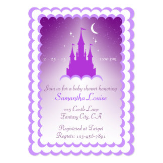 "Purple Dreamy Castle In The Clouds Baby Shower 5"" X 7"" Invitation Card"