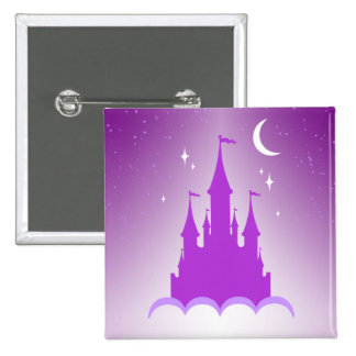 Purple Dreamy Castle In The Clouds Starry Moon Sky 2 Inch Square Button