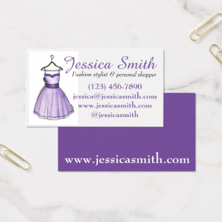 Purple Dress Boutique Fashion Shopper Stylist Business Card