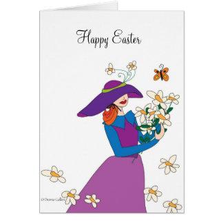 Purple Dress Easter Girl Card