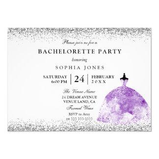 Purple Dress Glitter Bachelorette Party Invite