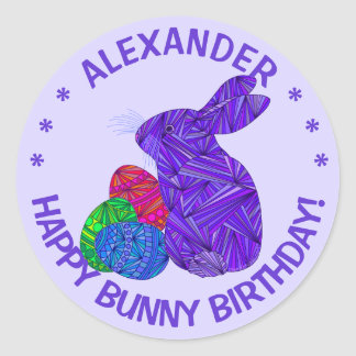 Purple Easter Bunny Easter Themed Birthday Party Round Stickers