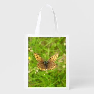 Purple Edged Copper Butterfly Reusable Bag