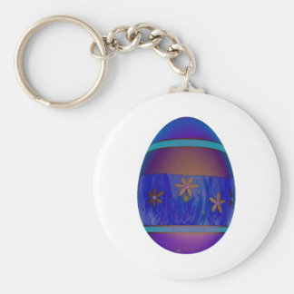 Purple Egg Basic Round Button Keychain