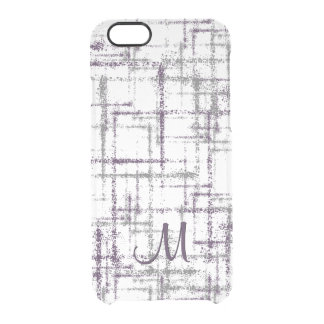 purple eggplant and gray abstract squares clear iPhone 6/6S case