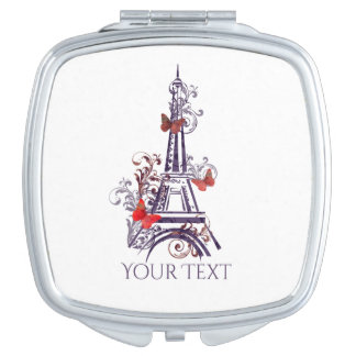 Purple Eiffel Tower Butterflies mirror Compact Mirrors