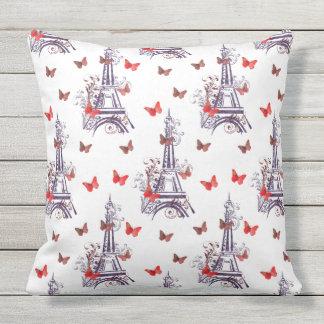Purple Eiffel Tower Butterflies outdoor pillow