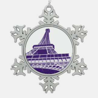 Purple Eiffel Tower Pewter Snowflake Ornament
