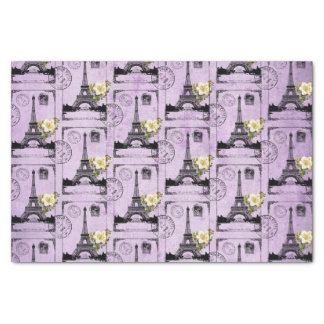 Purple Eiffel Tower Post Card Stamps Tissue Paper