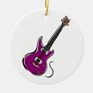 purple electric guitar music graphic.png ceramic ornament