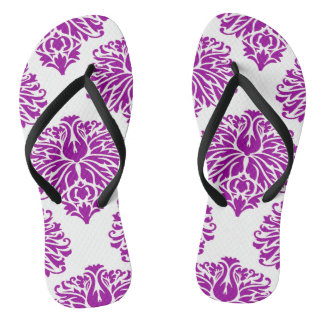 Purple Elegant Damask Flip Flops