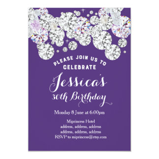 PURPLE elegant diamond, birthday invitation