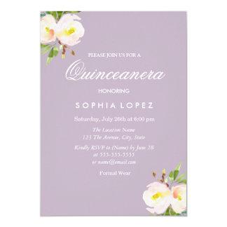 Purple Elegant Floral Quinceanera Invitation