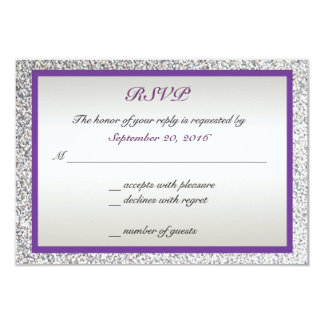 "Purple - Elegant Glitter Wedding RSVP 3.5"" X 5"" Invitation Card"