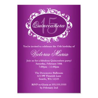 "Purple Elegant Swirl Quinceanera Birthday Party 5"" X 7"" Invitation Card"
