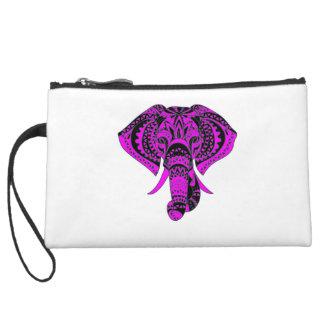 Purple Elephant Animal Suede Wristlet