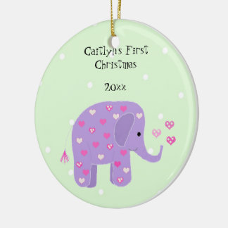 Purple Elephant Baby's First Christmas Ceramic Ornament