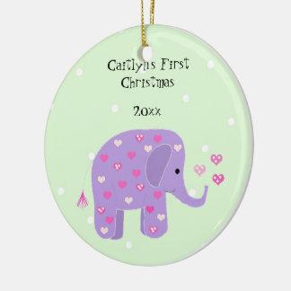 Purple Elephant Baby's First Christmas Round Ceramic Ornament