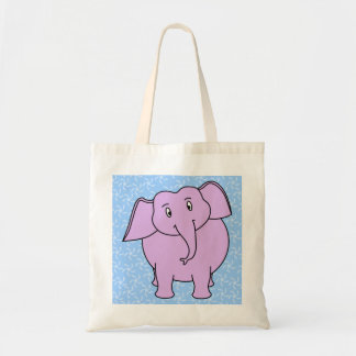 Purple Elephant Cartoon. Blue Floral Background. Tote Bag