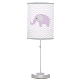 Purple Elephant Chevron Nursery Lamp