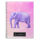 Purple Elephant on Dreamy Pink Watercolors Notebook