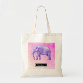 Purple Elephant on Dreamy Pink Watercolors Tote Bag