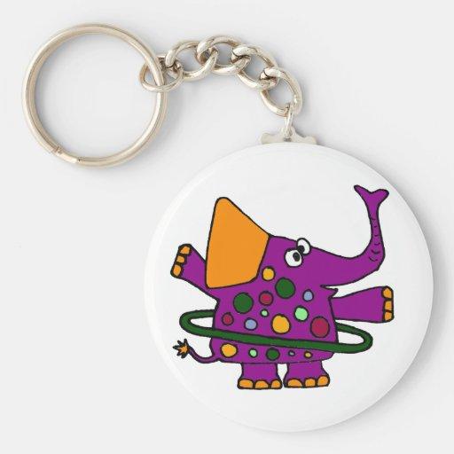 Purple Elephant Playing Hula Hoop Keychain
