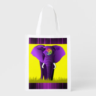 Purple Elephant reusable bag Grocery Bags