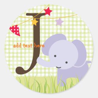 Purple Elephant stickers/add monogram Round Sticker