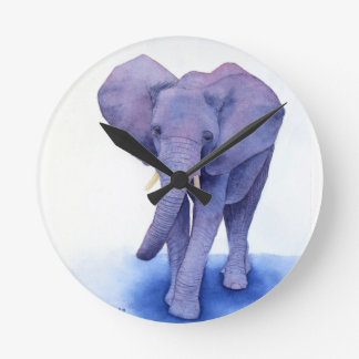 purple elephant watercolor art on multiple items! round clock