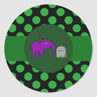 Purple Elephant Witch - Grave Stone & Green Dots Round Sticker