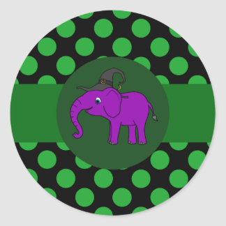 Purple Elephant Witch with Green Dots Round Sticker