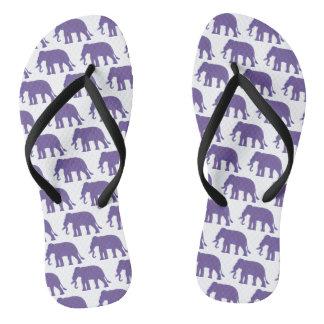 Purple elephants flip flops