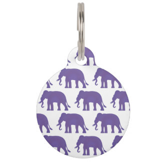 Purple elephants pet name tag