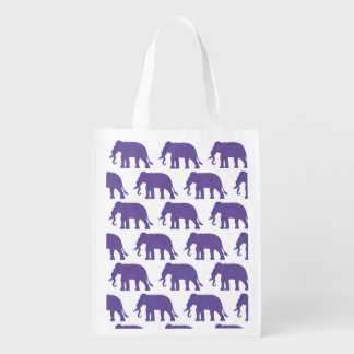 Purple elephants reusable grocery bag