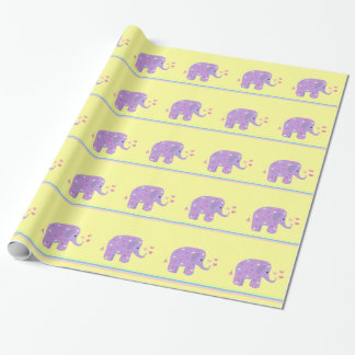 Purple Elephants with Hearts and Stripes Wrapping Paper