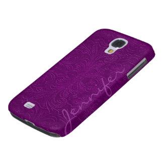Purple Embossed Floral Design Suede Leather Look 2