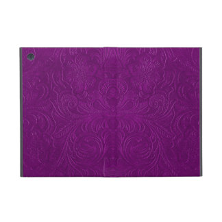 Purple Embossed Floral Design Suede Leather Look iPad Mini Covers