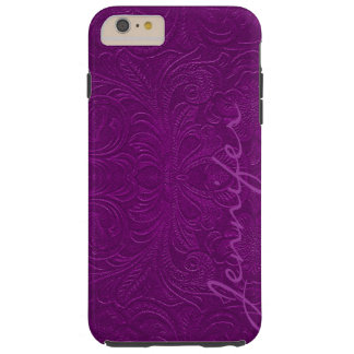 Purple Embossed Floral Faux Suede Leather Look 2 Tough iPhone 6 Plus Case