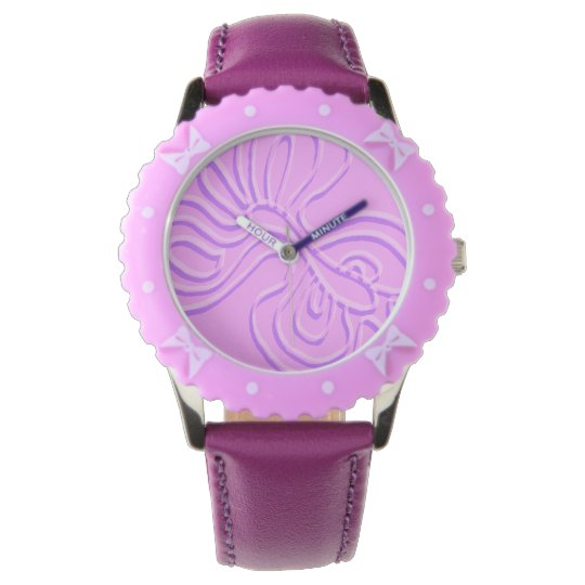 "Purple Embossed ""Rainbow"" Flutterfly Wrist Watches"