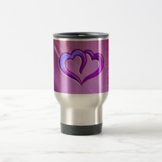Purple Engraved Hearts Travel Mug