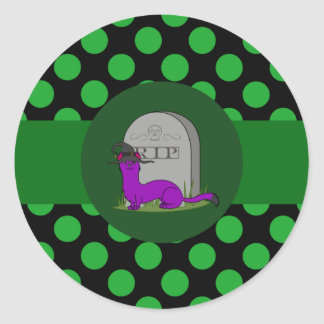 Purple Ermine with Grave Stone & Green Dots Round Sticker
