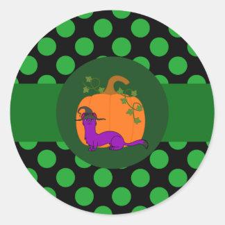 Purple Ermine with Pumpkin & Green Dots Round Sticker