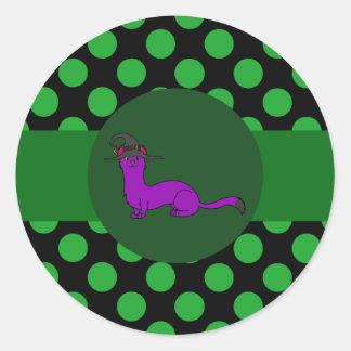 Purple Ermine with Witch Hat & Green Dots Round Sticker